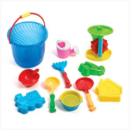 13 pc sand bucket beach toy play set